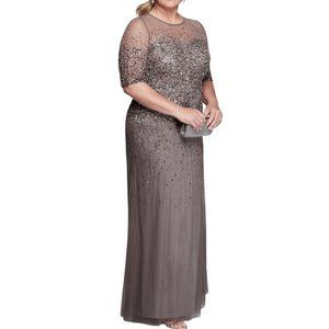 Adrianna Papell Sequin Illusion Mesh Formal Gown